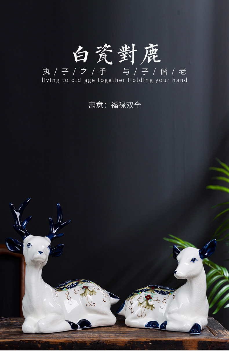 Jingdezhen ceramic hand - made elk furnishing articles of new Chinese style living room TV cabinet decorative gift a pair of creative arts and crafts