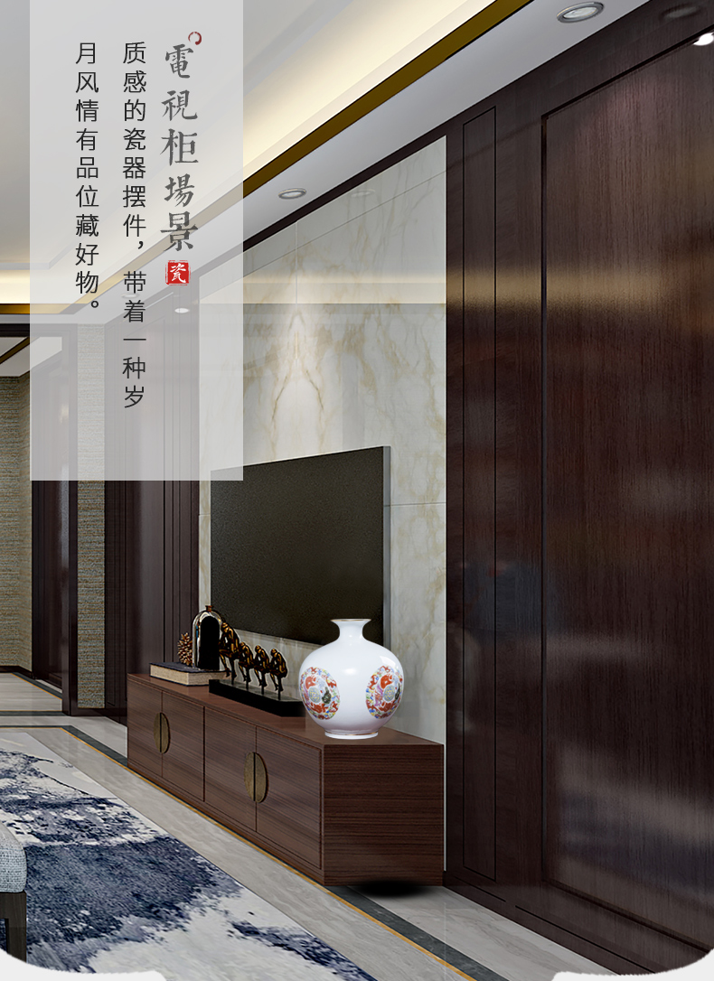 Jingdezhen chinaware paint floret bottle of flower arranging Chinese style household adornment rich ancient frame pomegranate bottle furnishing articles sitting room