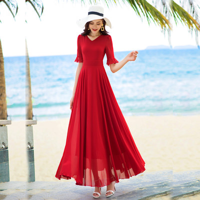 Xiangyi Lihua 2020 summer new five-point sleeve long sang chiffon dress travel holiday beach long skirt