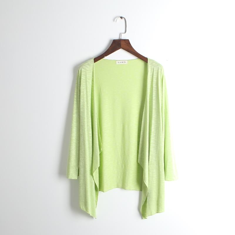 夏季不规则开衫中长款防晒衣女秋装大码竹节棉外套宽松披肩空调衫