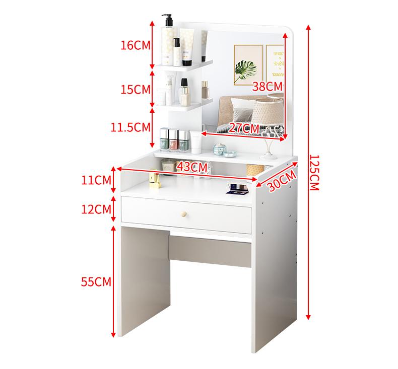 化妆臺卧室网红化妆臺现代简约小型收纳柜一体小户型风化妆桌详细照片
