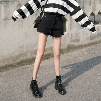 Black hole high waist denim shorts female loose 2020 new wide leg was thin outer wear summer shorts wild tide