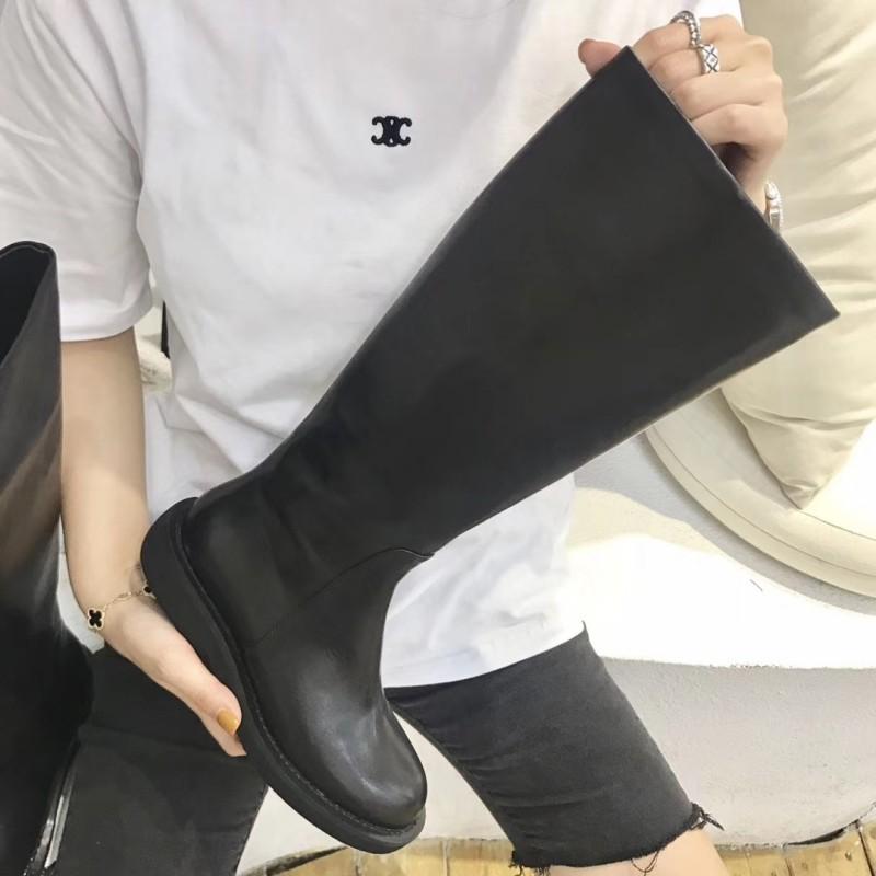 2019 новинка зимний осеннний плюс бархат британская мода натуральная кожа ботинок боковые молнии высокий ботинок женщина толстая рыцарь ботинок лошадь ботинок армия 605845424902
