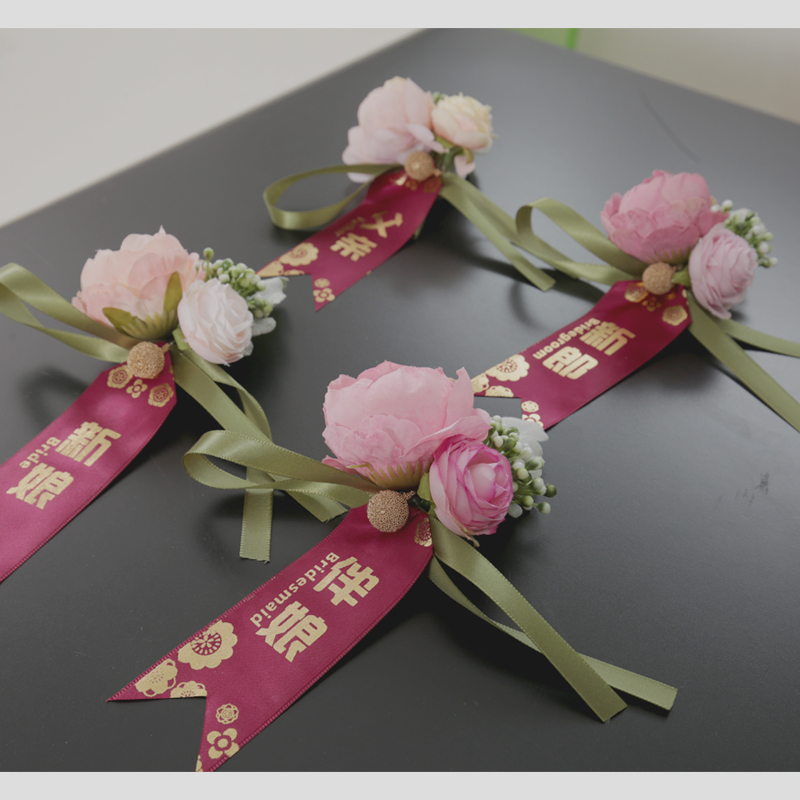 Bride and groom wedding corsage Wedding groomsman bridesmaid Mori high-end parents lapel flower welcome can be equipped with a full set