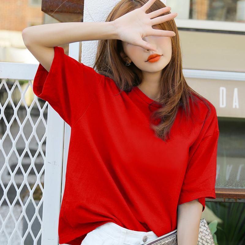 短袖女装t恤圆领红色韩版半袖大码体宽松夏季纯色学生纯棉上衣