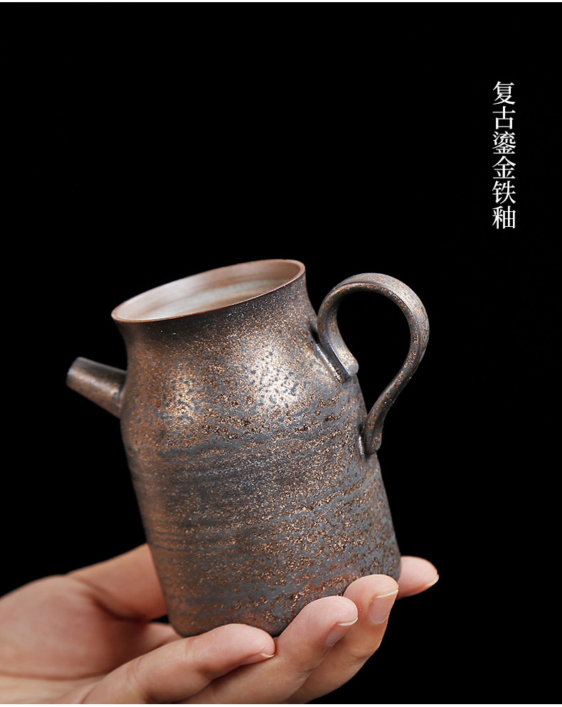 Small teapot tea ware ceramic Japanese coarse pottery imitation copper and gold household kung fu tea set single pot of restoring ancient ways side put the pot