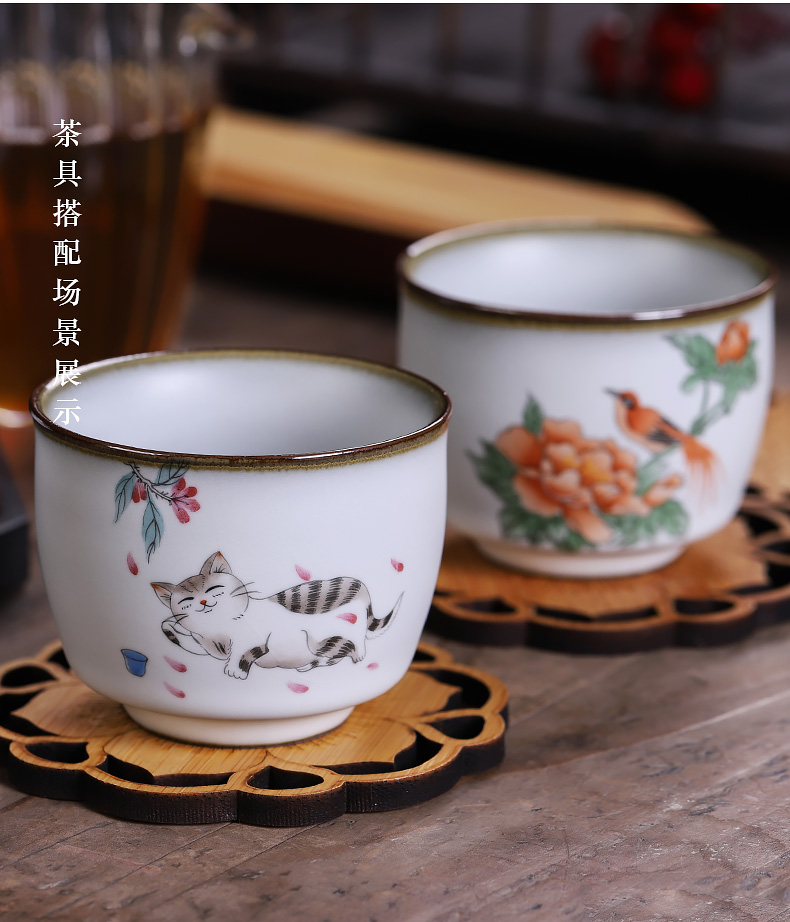 Jingdezhen kung fu tea set your up noggin masters cup slicing can raise the ice crack glaze ceramic cup hand - made the cat