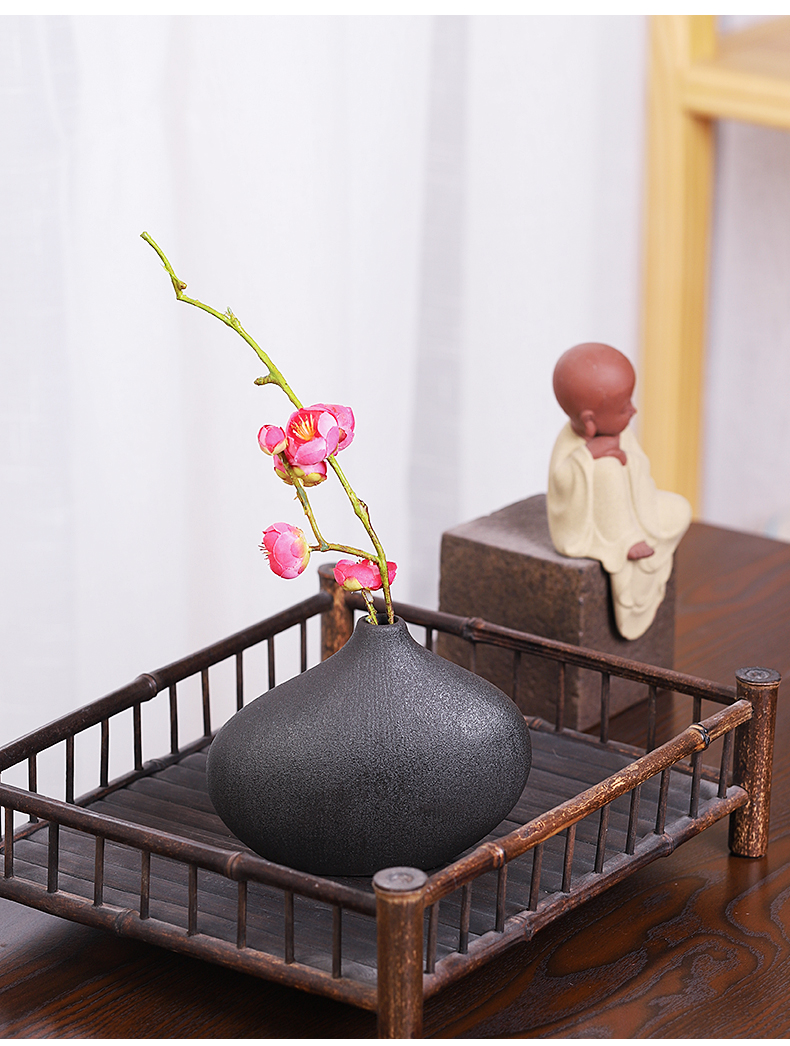 Tea seed Chinese contracted flower arranging flower implement zen Japanese ceramic coarse pottery vase of plating decorative furnishing articles Tea taking