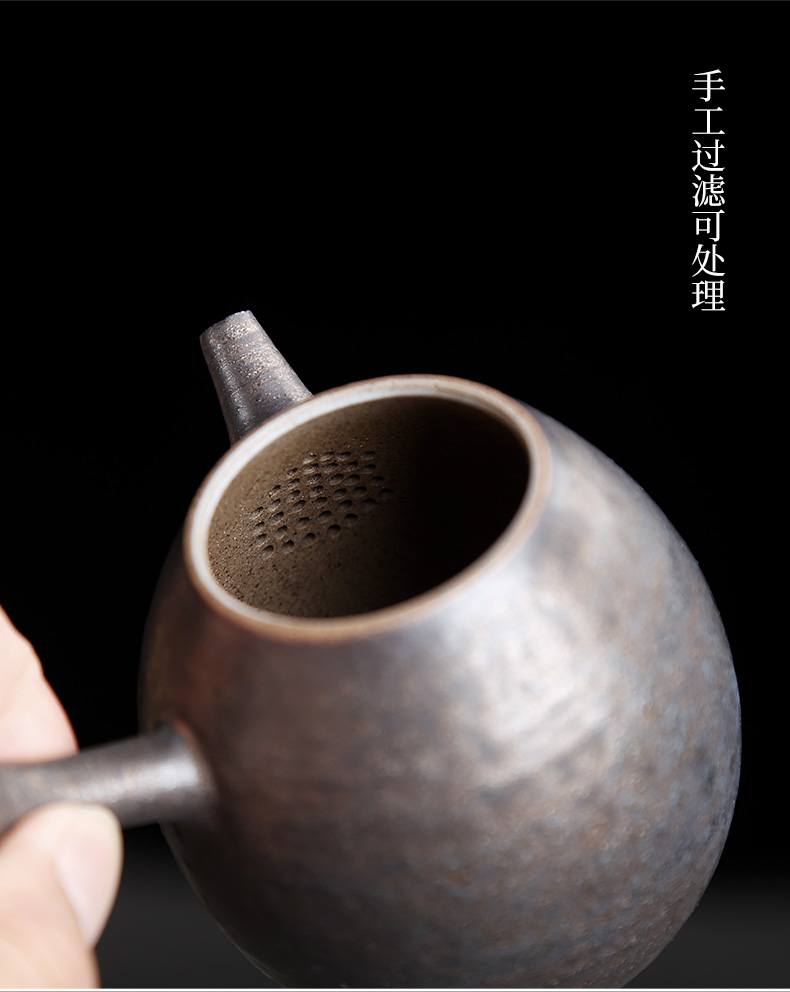 The From the coarse ceramic tea set porcelain teapot small single pot side put the pot of ceramic Japanese teapot household hand pot with one person
