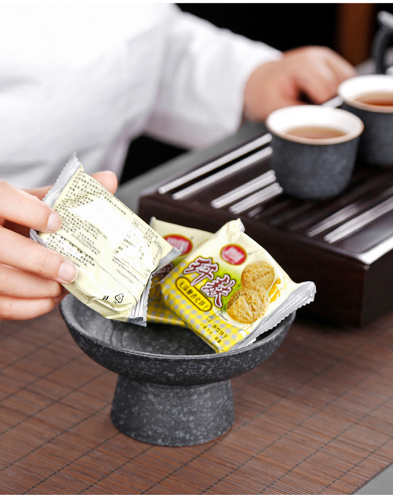 Coarse pottery Japanese tea set tea zen ceramic parts with high fruit compote best dish, furnishing articles
