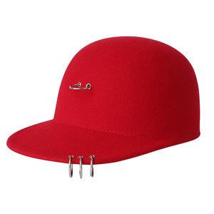 女帽子秋冬潮韩版时尚棒球帽羊毛帽呢帽休闲鸭舌帽马术帽新款