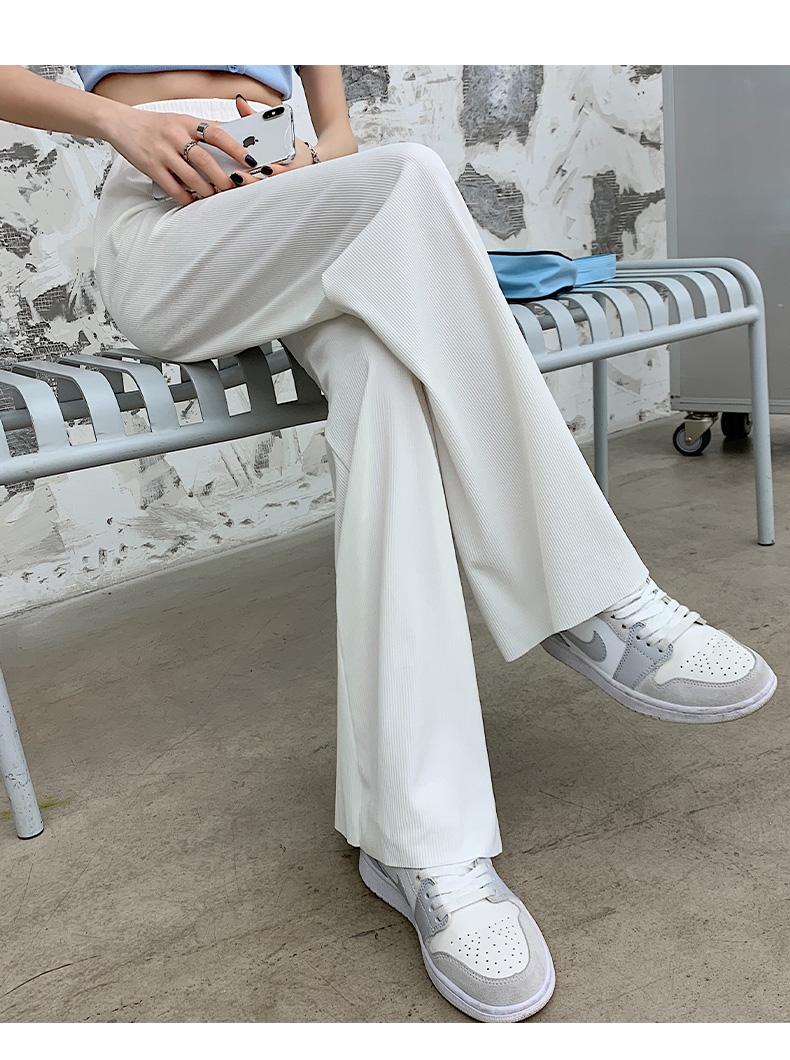 冰丝阔腿裤女夏季薄款高腰垂感宽鬆直筒春秋白色拖地休閒仙仙裤子详细照片