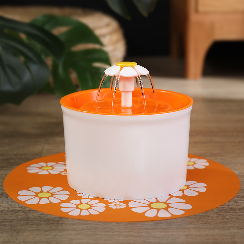 1 Generation Small Flower - Orange (buy One Get 3: Small Flower Fountain + Filter + Non-slip Mat)
