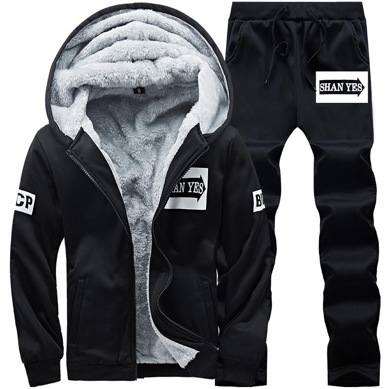 2019新款韩版潮流运动套装男冬季休闲两件套加绒加厚连帽卫衣套装