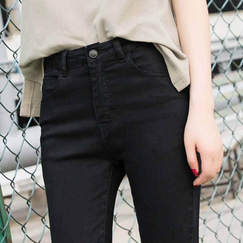 Black jeans female 2019 summer thin section Korean version was thin feet pants tight nine pants stretch high waist trousers