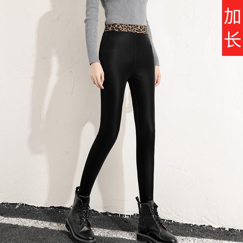 亚光皮裤女秋冬加绒加长版高个子超长款高腰打底女裤外穿小脚弹力