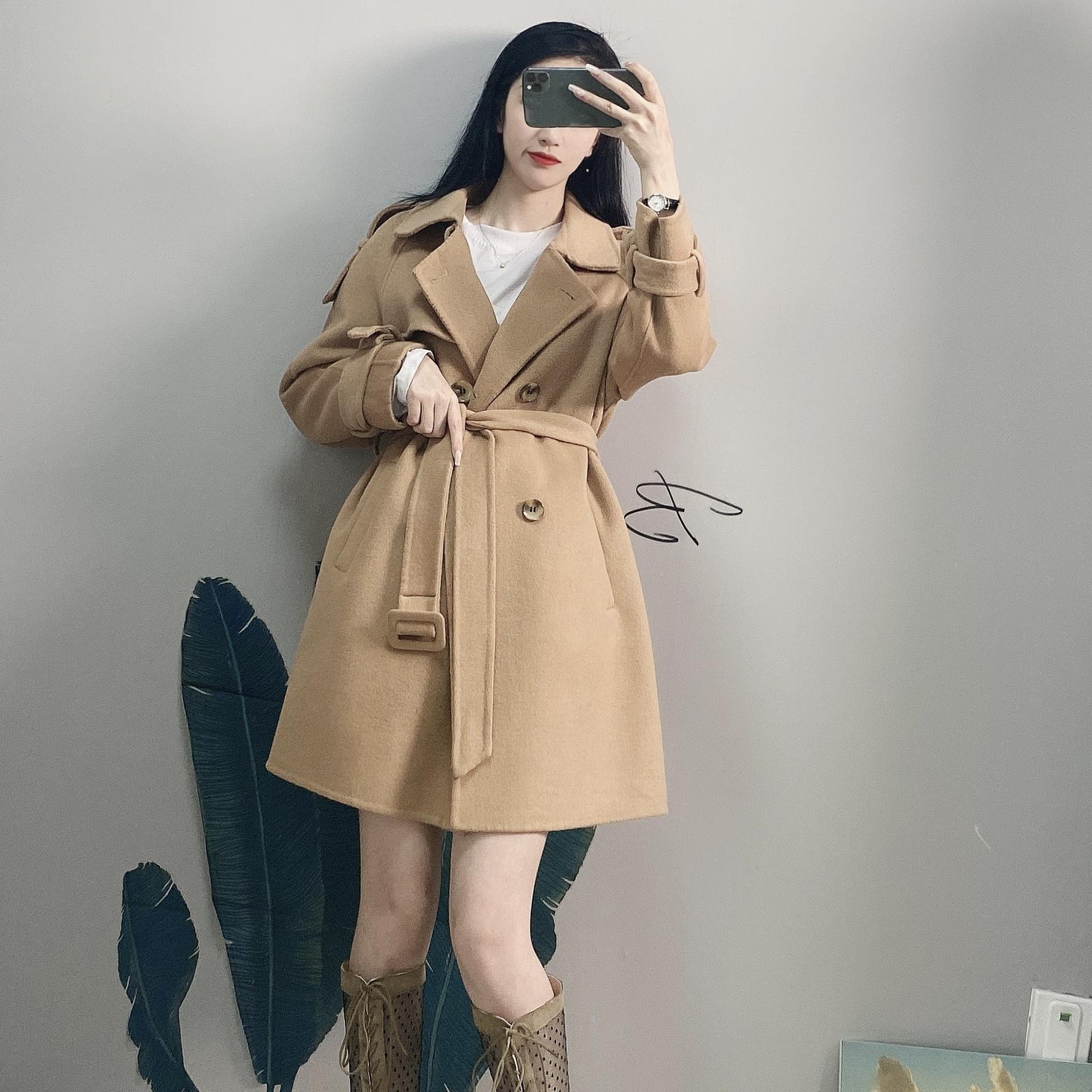 欧洲站秋冬新款欧货女装双面羊绒大衣女中长版斗篷毛呢外套潮详细照片