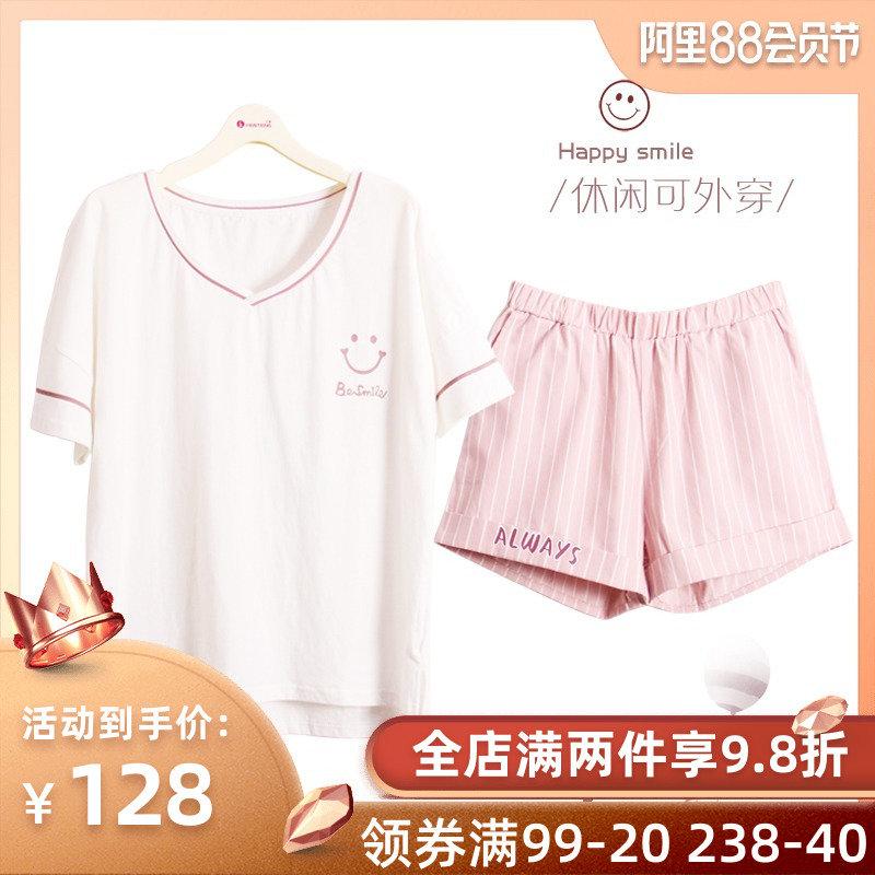 芬腾新款短袖睡衣女夏薄款可外穿纯棉时尚可爱休闲套头家居服套装