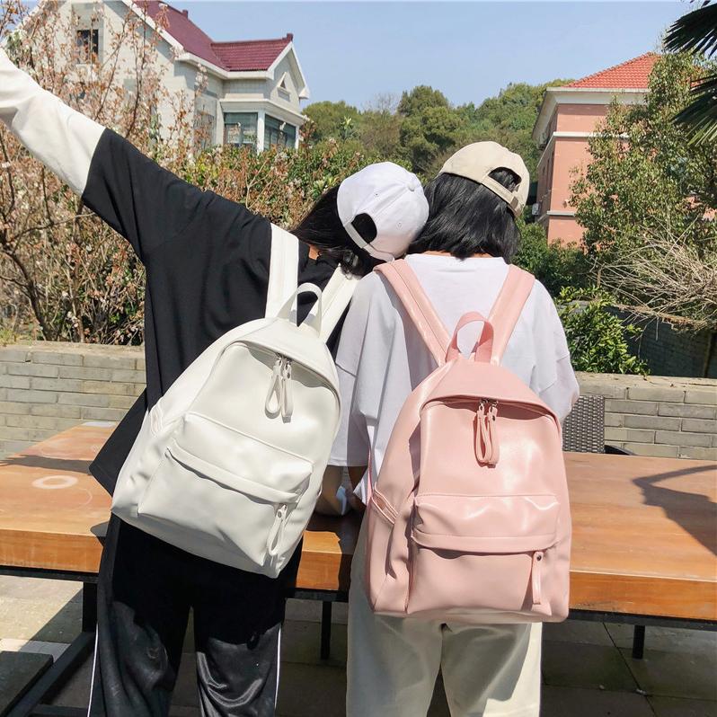 日版古着感书包背包学生韩版校园纯色双肩包森系百搭PU皮高中少女