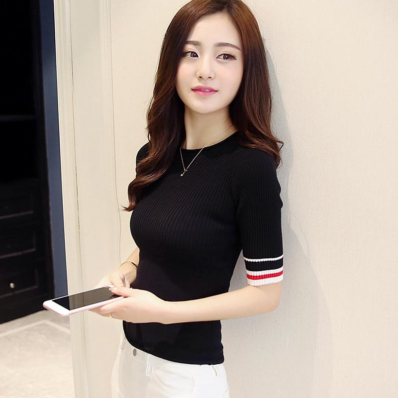 中袖针织衫女套头2019春季新款韩版紧身短款弹力上衣显瘦打底衫夏