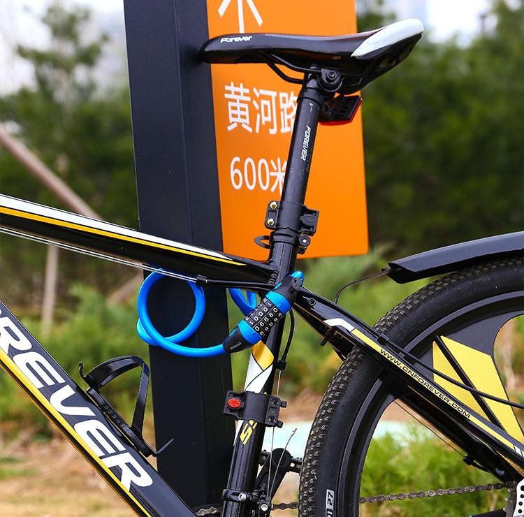 自行车锁电动车安全帽锁登山车固定可携式防盗钢丝链条锁密码锁详细照片