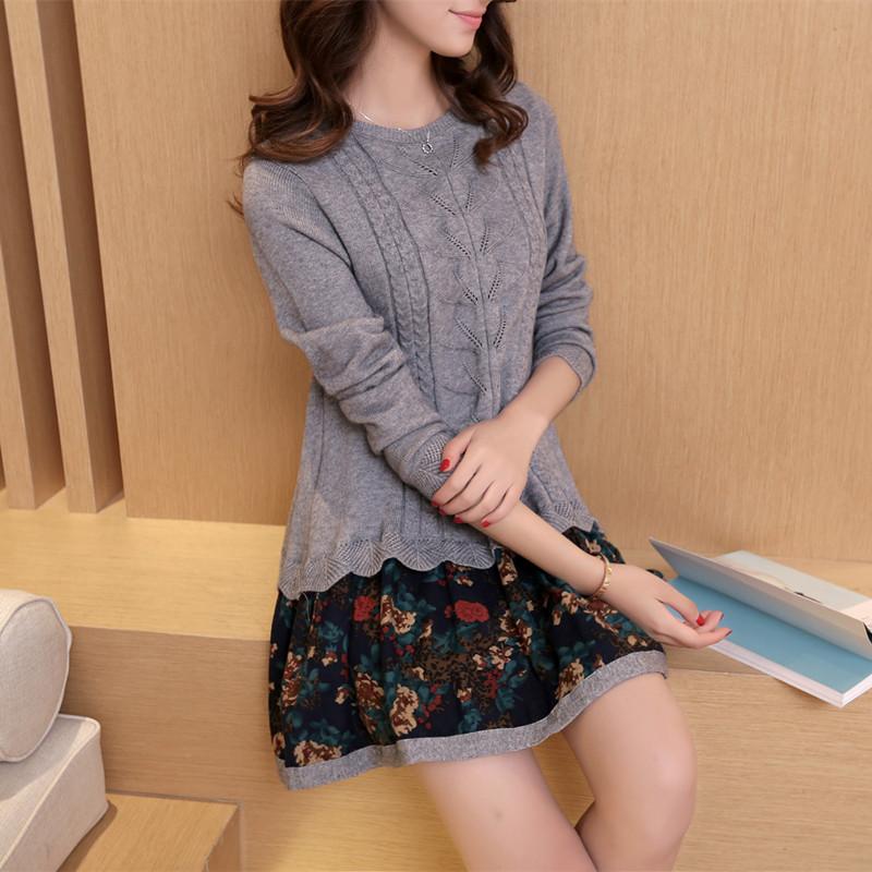 韩版圆领宽松假两件套长袖毛衣女秋冬套头针织衫碎花下摆裙女装厚