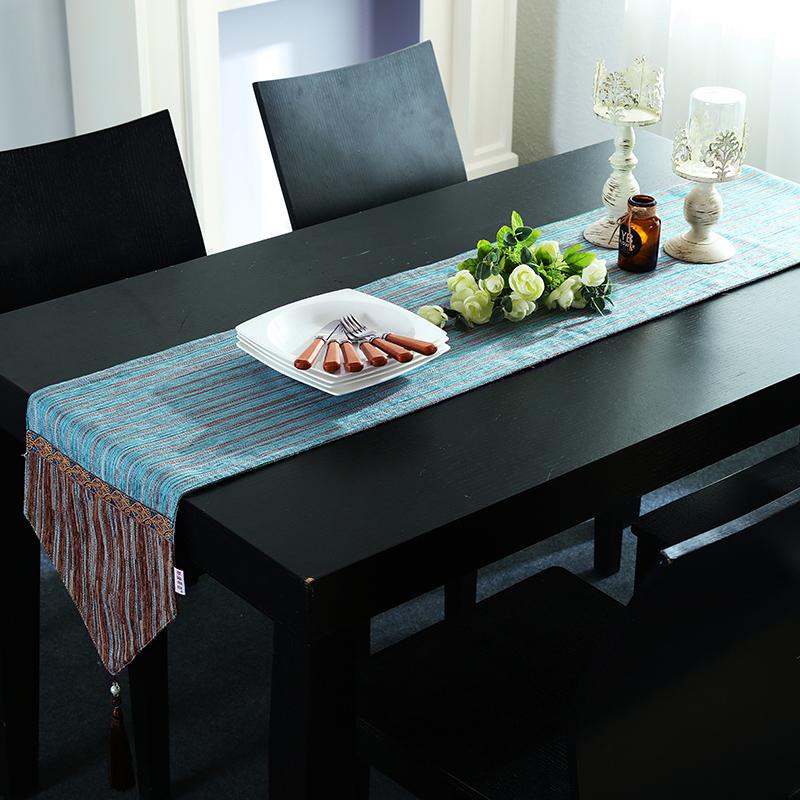 Hiện đại tối giản bàn cờ vải bông sọc châu Âu và vải lanh giường cờ cà phê cờ bàn ăn cờ mới Trung Quốc TV tủ khăn - Khăn trải bàn
