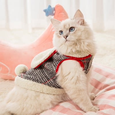 Hot cat clothes small milk cat cute cotton clothes pet blue cat hairless cat spring and autumn clothes thin kitten skirt