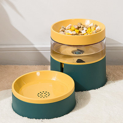 Cat bowl double bowl dog bowl automatic drinking water anti-tip cat potted protection spine mi rice bowl cat products