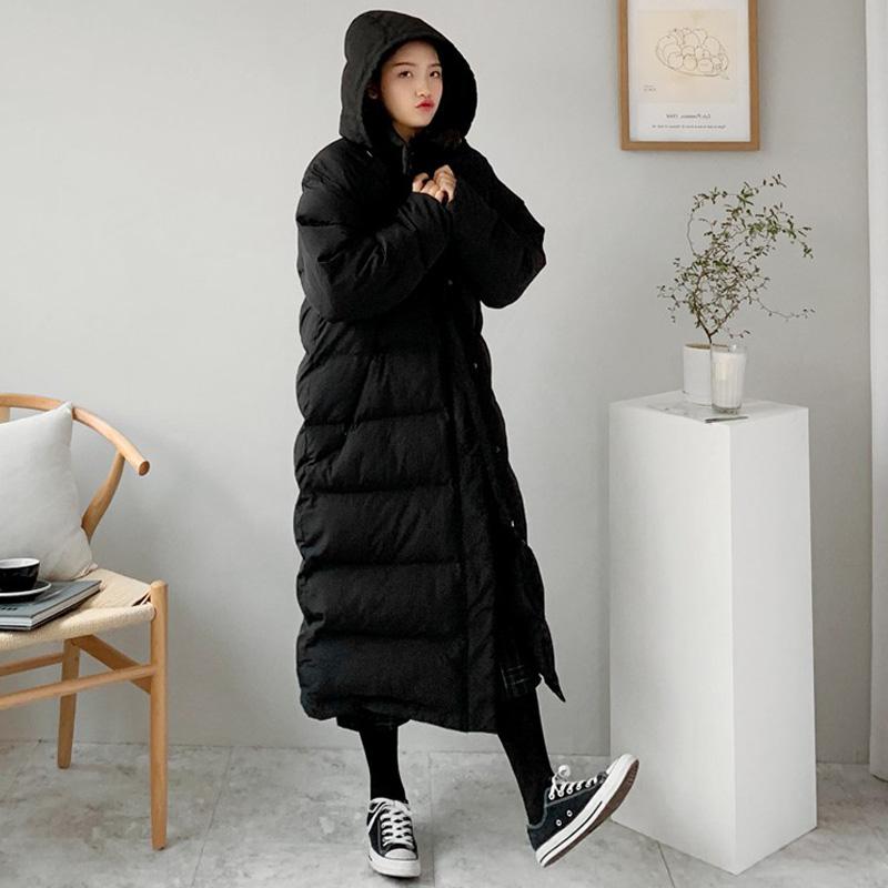 Mùa đông phong cách mới trùm đầu dày áo khoác đệm thẳng phụ nữ Phong cách Hàn Quốc lỏng lẻo giữa chiều dài xuống áo khoác đệm để giữ ấm trên đầu gối - Bông