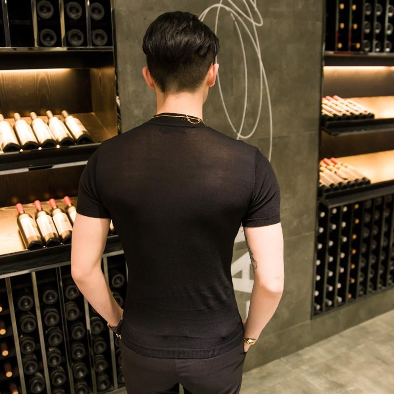 Mùa xuân và mùa hè của nam giới áo len mỏng áo len ngắn tay triều của nam giới T-Shirt Hàn Quốc phiên bản của chặt chẽ-phù hợp nửa cao cổ áo băng lụa đáy áo