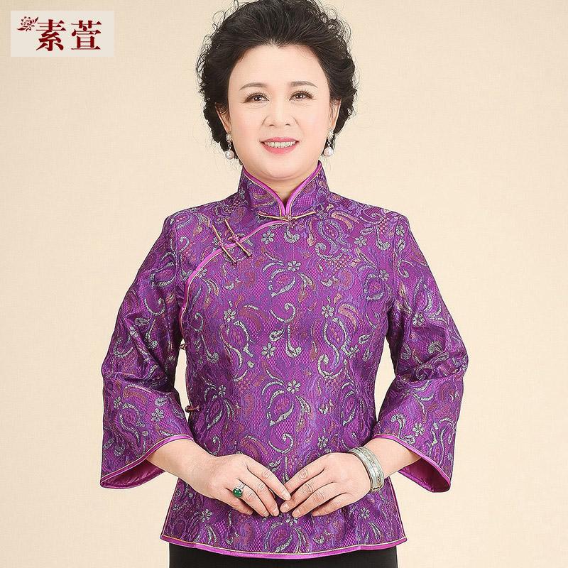 中老年人唐装女套装复古古装中式汉服旗袍上衣妈妈奶奶中国风夏装