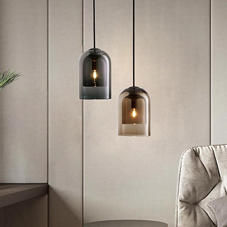 卧室床头吊灯简约现代单头创意餐厅灯吧台吊线玻璃黑色北欧小灯具