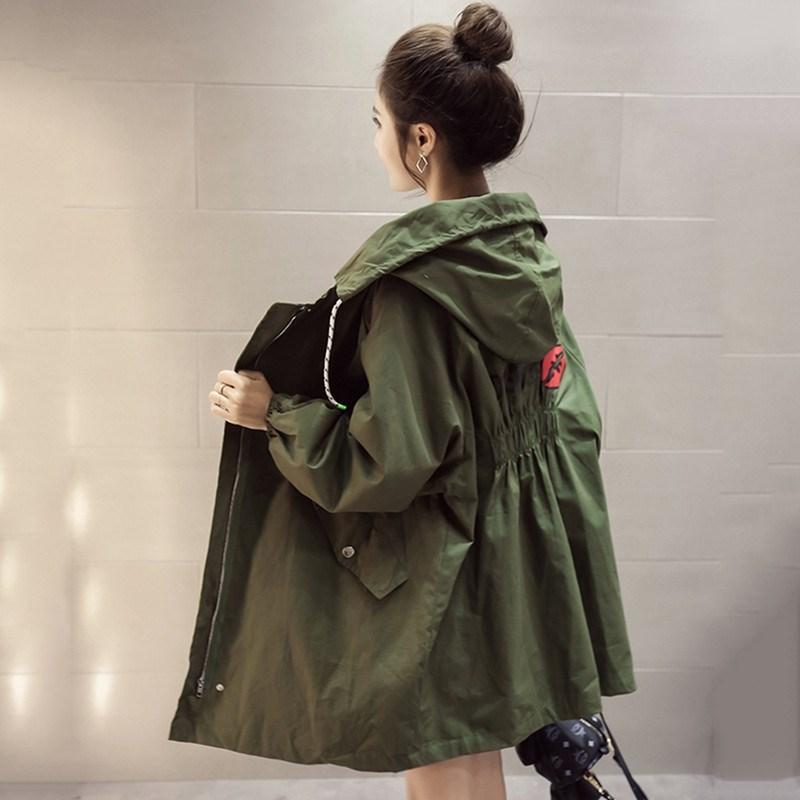 春秋季少女学生女加厚韩版中长款宽松风衣百搭牛仔秋冬外套新款