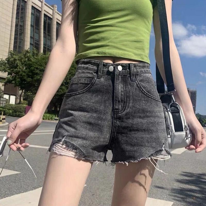 牛仔短裤高腰韩版2021夏新款潮ins宽松显瘦阔腿破洞学生a字热裤