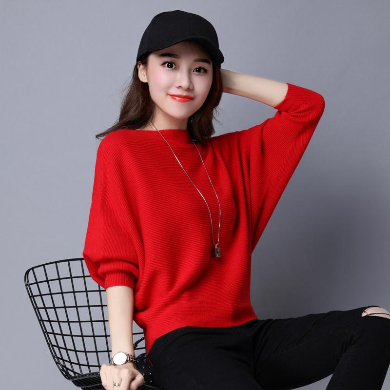 2019秋季新款外套衫篇幅女一字宽松短款韩版毛衣套头领针织衫上衣