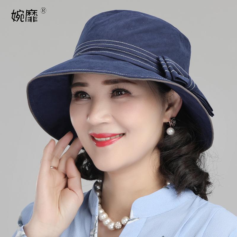 中老年人帽子女春秋妈妈渔夫帽洋气薄款老人奶奶遮阳盆帽防晒帽夏