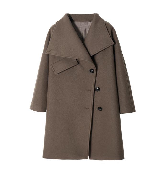XC mùa đông phong cách mới 2WAY ve áo dài vừa phải áo len lông cừu lỏng lẻo áo khoác len nữ - Accentuated eo áo