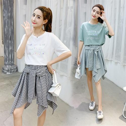 短袖女2019新款时尚t不规则裙摆系带格子半身裙套装两件套