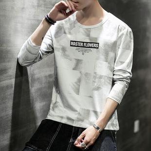 新款纯棉圆领长袖T恤青年印花打底衫男