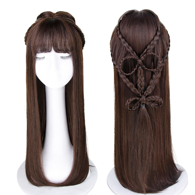 Wig women's long straight hair full head suit wig girl's ancient costume plaited hair air banged wig set