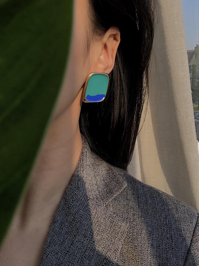 宏美飾品館~耳邊鐺62韓國金屬撞色幾何方形法式耳釘夸張個性氣質百搭耳釘耳夾