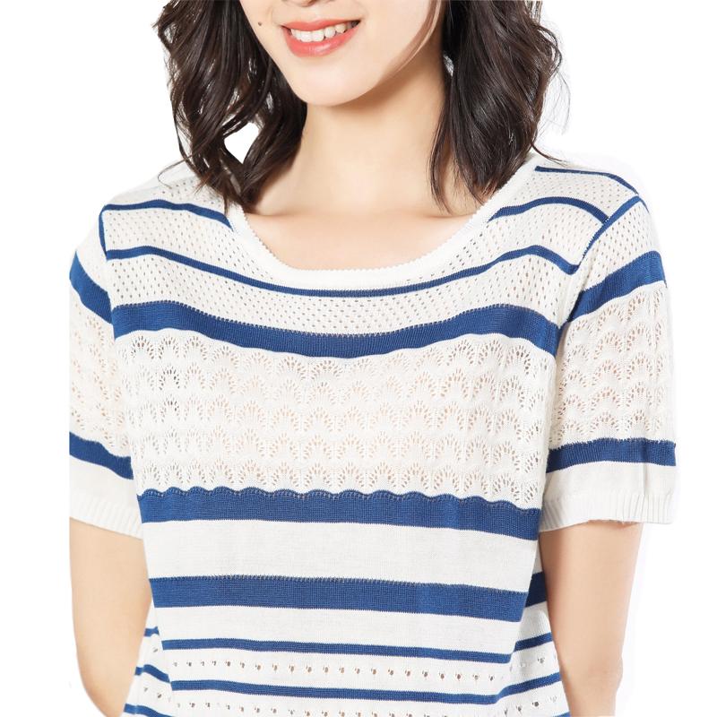 女夏季薄款镂空针织上衣t恤2019大码半袖短袖衫女韩版圆领打底