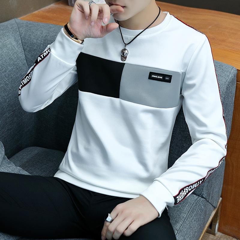 秋季男士长袖t恤韩版潮流早秋上衣打底衫帅气新款圆领卫衣男衣服