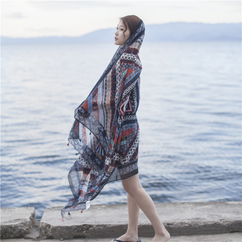 冬季长纱巾丝巾保暖沙滩巾两用