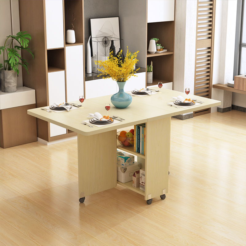 Simple modern folding dining table household small apartment rectangular  folding table dining table simple retractable mobile