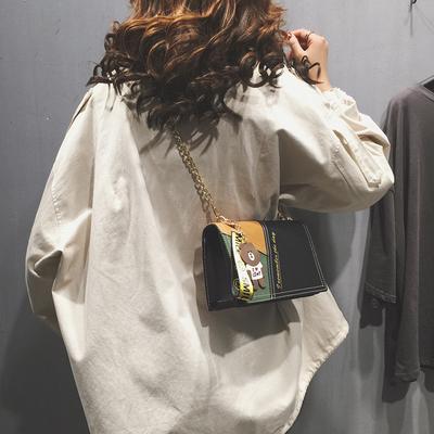 秋冬撞色拼接小包包女 新款韩版休闲百搭链条小方包单肩斜挎包