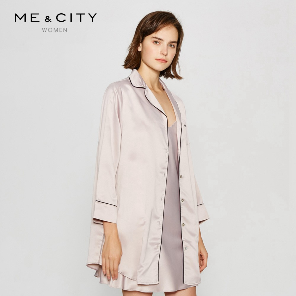 Mecity women s silk sensibility long-sleeved long single-breasted shirt-style  nightdress cef04a88a