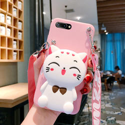 Cute cat zero wallet oppor11s mobile phone case r11plus cross r9s cross arm R9m backpack SK bag t silicone 0ppo wallet st strap strap strap cartoon female anti fall wrist