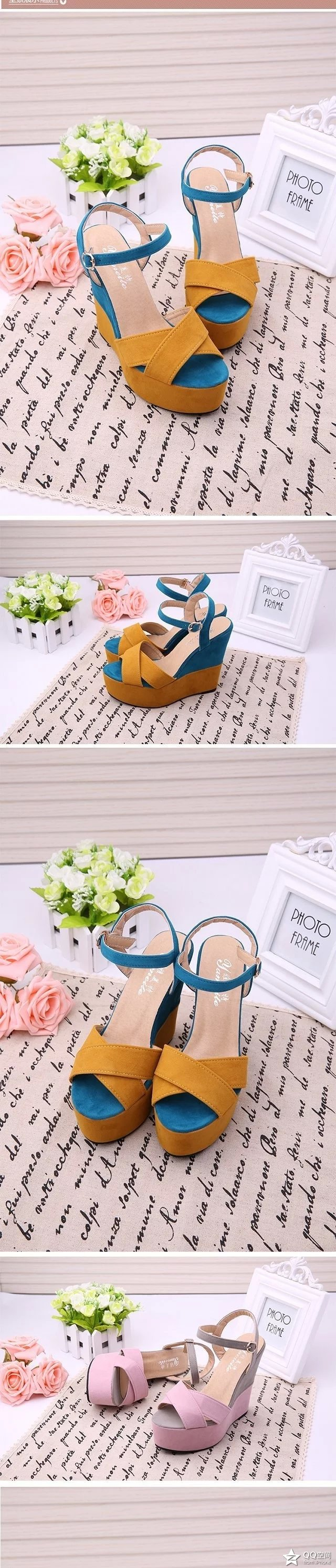 2019 summer new slope with fish mouth sandals female high-heeled belt buckle shallow mouth women's shoes with a fashion shoes 17
